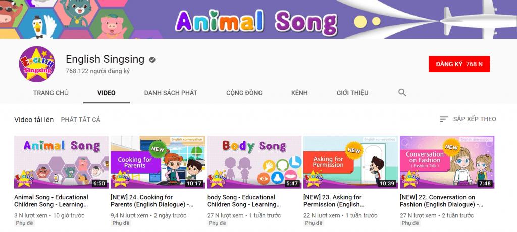 kênh youtube tiếng anh trẻ em english singsing