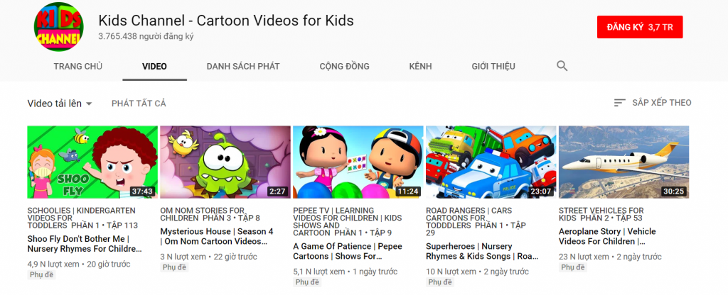 kenh youtube tieng anh cho tre kids chanel - cartoon video for kids
